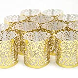 Frux Home and Yard Votive Candle Holders - Flameless Tea Light Votive Wraps- 48 Gold Colored Laser Cut Decorative Wraps Flickering LED Battery Tealight Candles (not Included)