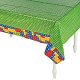 Fun Express Brick Block Party Disposable Tablecloth - Table Cover Party Supplies