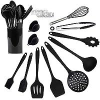 Photo Gallery amanka 12 pezzi utensili cucina in silicone set,set di utensili silicone alimentare resistente al calore,set pentole antiaderenti,con ganci,guaine per dita termoisolanti,nessun odore, nero