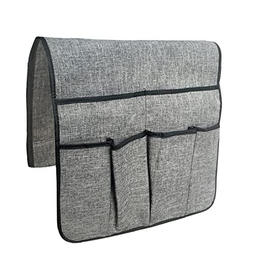 NIDONE Organizador de sofá Sillón Caddy Soporte de control remoto Sofá Apoyabrazos Bolsa de almacenamiento Colgante Antideslizante con 6 Bolsillos Gris
