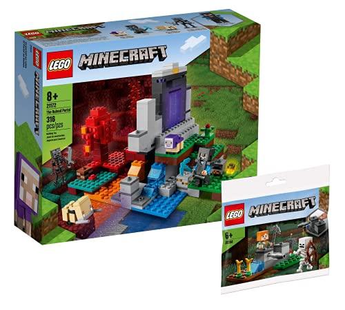 Collectix Lego 30394 Minecraft El Portal destruido 21172 + Minecraft - Juego de construcción de esqueletos