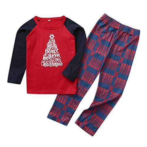 Hui.Hui Noël Costume Parent-Enfant Famille Vêtements T-Shirt à Lettre Imprimé Alphabet et Pantalon à Carreaux Tenues pour Enfants 2-8 Ans