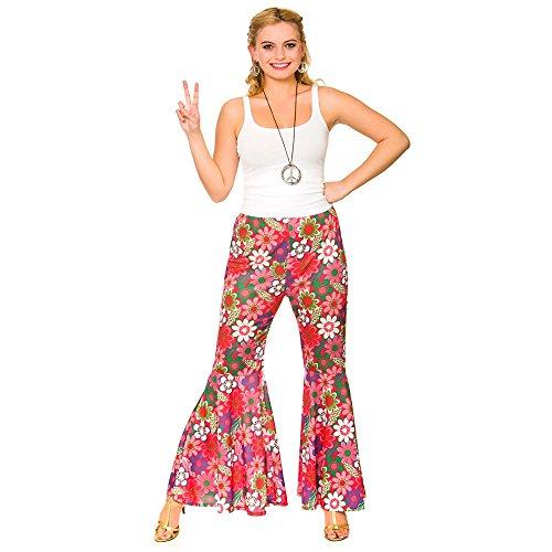 Ladies Pink Flower Power Hippie Pants Fancy Dress Item