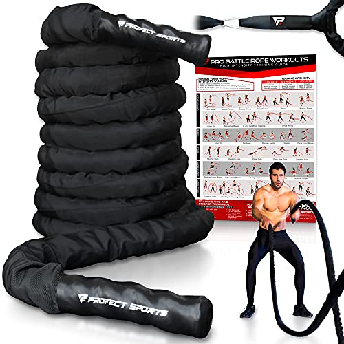 """Pro Battle Ropes with Anchor Strap Kit and Exercise Poster – Upgraded Durable Protective Sleeve – 100% Poly Dacron Heavy Battle Rope for Strength Training, Cardio Fitness, CrossFit Rope (1.5"""" x 30 ft)"""
