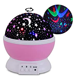 Baby Night Light Moon Star Projector(3 Sets of Film), 360 Degree Rotation and 8 Color Light Changing, for Decorating Birthdays, Christmas, and Other Parties, Best Gift for a Baby's Bedroom.