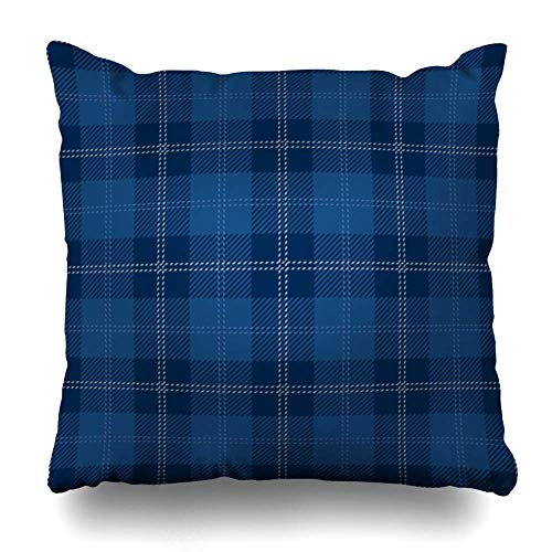 BOKEKANG Throw Pillow Cover (Set of 2) Royal Blue Tartan Plaid Skirt British Celtic Solid Color Square Pillowcases for Sofa Bed Couch Car - 18' x 18'