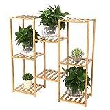 Estante para plantas, Soporte para plantas Soportes para flores de varios niveles, Estante para jardín Soporte de exhibición de plantas de bambú de madera(3 + 2 + 3)