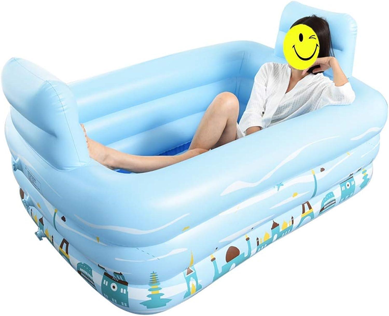 NUBAOgy Familien-aufblasbare Badewanne, einfache faltende Lagerung, Starkes aufblasbares Pool, isoliertes faltendes Bad, Blau, 150  112  50cm