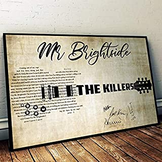 Mr Brightside The Killers Lyrics Song Signed Rock-Music Gifts - Hot Fuss #Signature Poster Home Art Wall Art Posters Prints Livingroom Kitchen-Room No Frame (16x24)