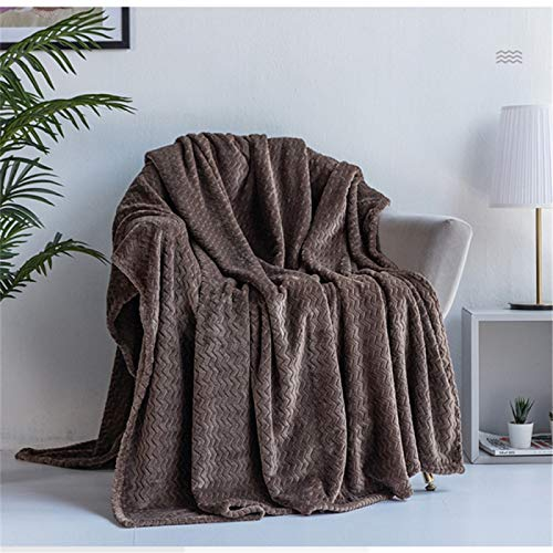 YUNSW Flannel Blanket Wave Pattern Sofa Blanket Solid Color Gift Blanket Office Nap Air Conditioning Blanket