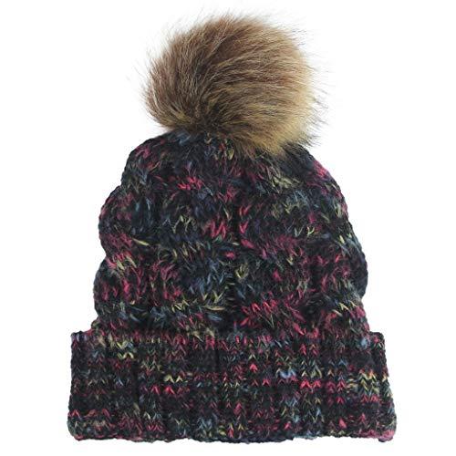 GOKOMO Frauen-beiläufige Mehrfarbenaußenplüsch-Kugel-Hut-Häkelarbeit-Strickmütze-Kappe(Schwarz,One Size)
