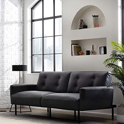Edenbrook GilmanConvertible FoldingFuton Modern Square Arm Design-CompactCouch Bed, Deluxe - 82 Inches, Black Faux Leather