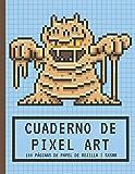 Cuaderno de PIXEL ART: Papel de rejilla Pequeñas baldosas 5x5mm   Cuaderno en blanco   Para hacer dibujos de píxeles y colorear   Monstruo de barro   ... niños y niñas jugadores, niños y adultos