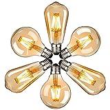 LED Lampadina Vintage Edison, Massway 220V E27 ST64&G80 4W (Equivalente 40W) Edison lampadina Retro Stile Decorativo luce filamento lampadina, 6 pezzi