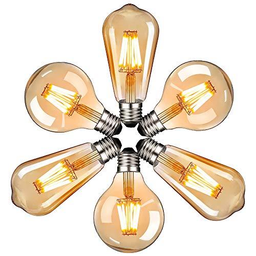 massway Edison Vintage LED Glühbirne, E27 Antike LED Filament Lampe 4W Dekorative Glühbirne (2700K, 340LM, Modell G80&ST64) Ideal für Nostalgie und Retro Beleuchtung im Haus Café Bar - 6 Stück