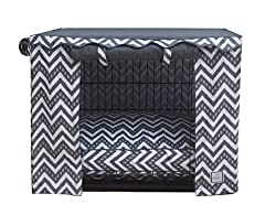 chevron-patterned dog crate cover by Bowhaus