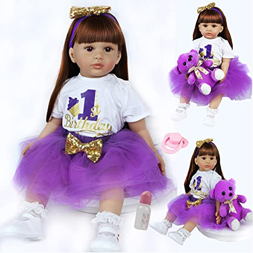 ZIYIUI Reborn Toddler Dolls 24 inch 60cm Soft Silicone vinyl Lifelike Baby Dolls Girls that Looks Real Toddler Dolls Weighted Cotton Body Girls with Magnetic Dummie Toys