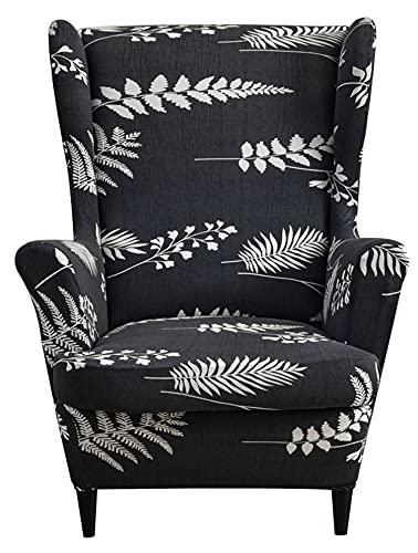 NOPEXTO Stretch Wingback Stuhl Schonbezüge, Sesselbezug Mit Blumen Muster Dekorative Bezug Husse Für Ohrensessel (Nacht)