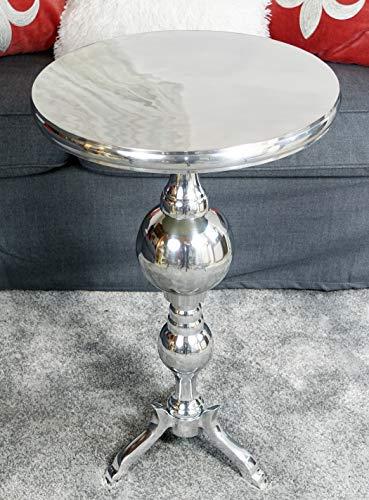 Couchtisch Modern, Wohnzimmertisch Sofatisch Beistelltisch Tisch aus Metall, Aluminium Rund Silber Luxus 66 cm
