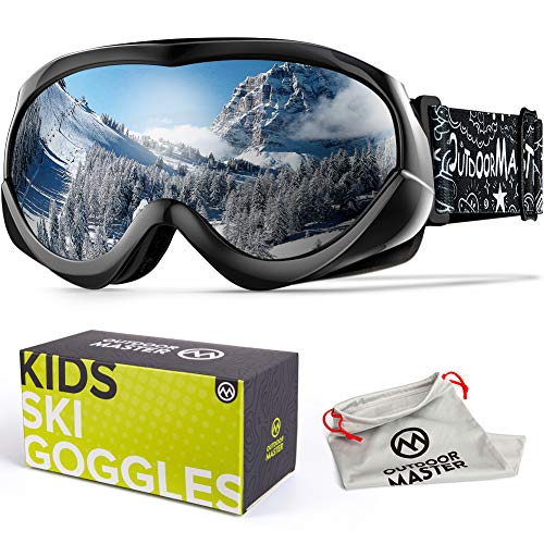 OutdoorMaster Kids Ski Goggles - Helmet Compatible Snow Goggles for Boys & Girls with 100% UV Protection - VLT 10.1%