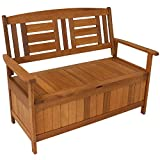 Sunnydaze Meranti Wood Outdoor Storage Bench with Teak Oil Finish - Outside Furniture Seating for Patio, Garden, Deck, Porch and Balcony - Backyard Yard and Lawn Organizer - 47-Inch