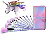 Lennov Einhorn Make-up Pinsel Set bunte Borsten Unicorn Horn Griffe Fantasy Makeup Tools Foundation...