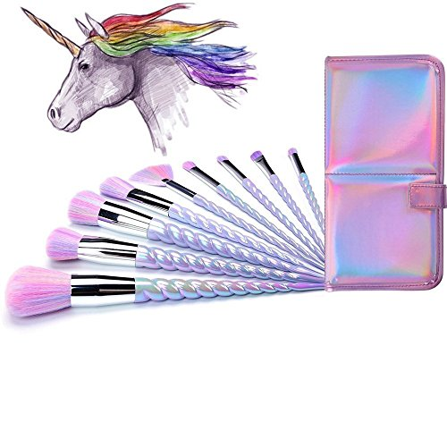 Lennov Einhorn Make-up Pinsel Set bunte Borsten Unicorn Horn Griffe Fantasy Makeup Tools Foundation Lidschatten Einhorn Bürsten Kit mit einem niedlichen schillernden Tragetasche (10 Stück)