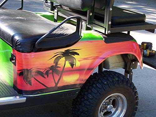 Golf Cart Tropical Sun Set Large Rear Fender Wrap Graphics