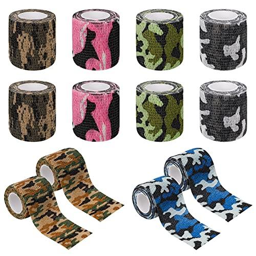 tonyg-p 12 rotoli di bendaggio adesivo coesivo elastico di fissaggio autoadesivo per dita, ginocchio, distorsioni e gonfiori, 5 cm x 4,5 m
