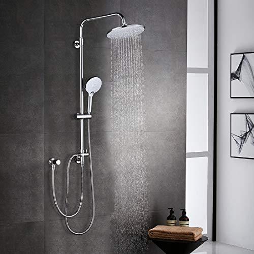 ARCORA Duschsystem ohne Armatur Regendusche Set Duschset Chrom Duschsäule 3-Funktionen mit Überkopfbrause Handbrause Brausegarnitur aus 304 Edelstahl Duschgarnitur für Bad