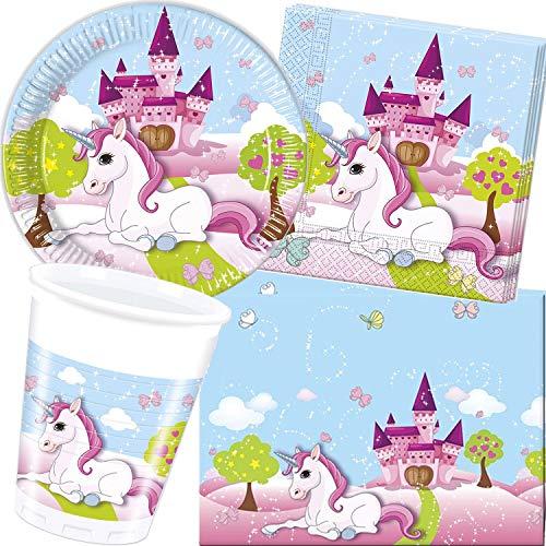 Procos/Carpeta 62-TLG. Party-set * Unicorn * met borden + beker + servetten + tafelkleed | decoratie kinderen verjaardag motto eenhoorn sprookje meisjes kinderverjaardag