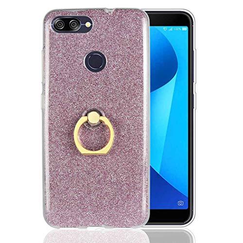 Ycloud Morbido TPU Silicone Custodia per ASUS ZenFone Max Plus (M1) ZB570TL Smartphone, Glitter Brillantini Bling Cover con Fibbia ad Anello Staffa Slim Antiurto Caso (Rosa)