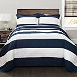 Lush Decor New Berlin Quilt Striped Pattern 2 Piece Bedding Set, Twin, Navy and White