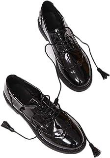 [THLD] レディース オックスフォード シューズ 靴 ラウンドトゥ レースアップ カジュアル エナメル 大きいサイズ 25.0cm レディース オールシーズン レースアップシューズ オックスフォード タッセル エナメル 靴 レディース 歩きやすい