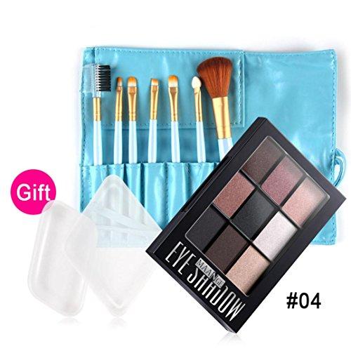 Vovotrade® Cosmetic Matte Eyeshadow Cream Makeup Palette Shimmer Set 9 Color+Brush Set (Bleu)