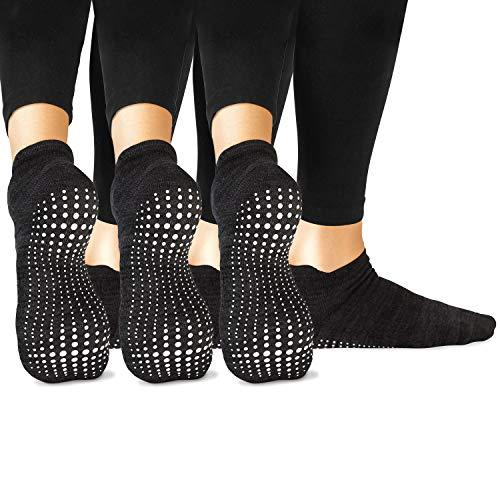 LA Active Grip Socken - 3 Paar - Yoga Pilates Barre Ballet Abs Noppen Rutschfeste (Schwarz x 3, 37-40 EU)