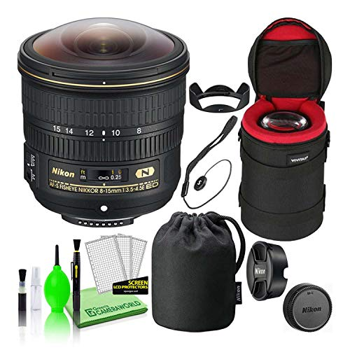 Nikon AF-S Fisheye NIKKOR 8-15mm f/3.5-4.5E ED Lens (20066) USA Model Authorized Dealer Lens Bundle Package with Padded Camera Lens Case + Lens Cap Keeper Holder + Deluxe Camera Lens Cleaning Kit