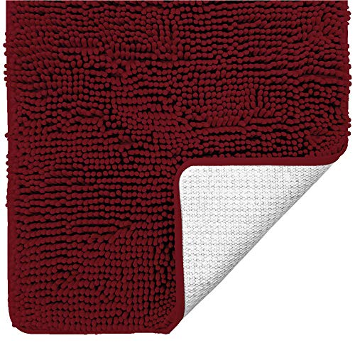 Gorilla Grip Original Luxury Chenille Bathroom Rug Mat, 60x24, Extra Soft and Absorbent Shaggy Rugs, Machine Wash Dry, Perfect Plush Carpet Mats for Tub, Shower, and Bath Room, Burgundy