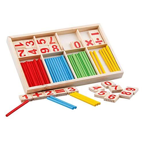 Gobus matemáticas de Madera contando Palos Bloques de números matemáticos con Caja niños aprendiendo Juguete