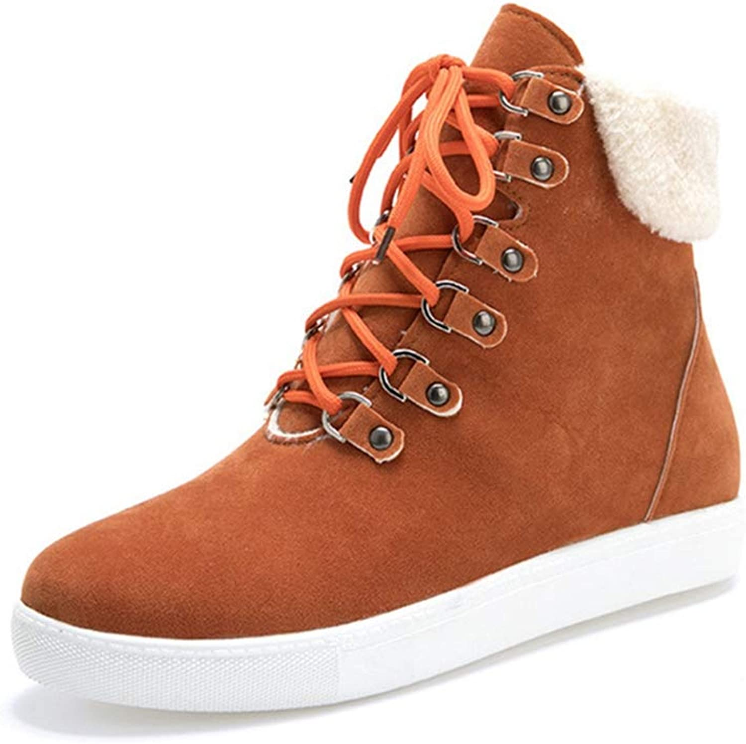 GIY Women's Lace Up Casual Ankle Boots Suede Round Toe Flat Low Heel Bootie Comfort Martin Snow Short Boot