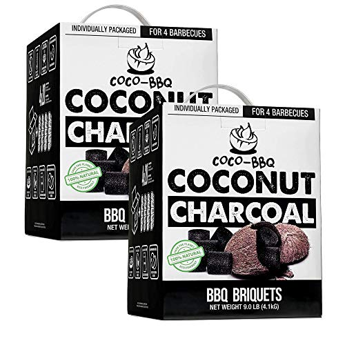 COCONUT CHARCOAL: BBQ Briquettes Made From All-Natural Compressed Coconut Shells That Save Trees & Waste - Organic Compounds Are Eco-Friendly and Hold in Bold Flavors For Your Taste Buds to Enjoy ECO-FRIENDLY SOLUTION: GMO-Free & Organic Coconuts Use...
