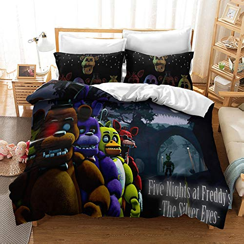 JSYJ 3D Print Cartoon Five Nights At Freddy's Duvet Cover Sets, 2/3 Piece Full Size Bedding Set - Includes 1pc Duvet Cover Set And 1/2 Pillow Case, 100% Polyester Microfiber (Size : EU 240 * 220cm)