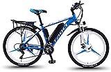 BWJL Bicicletas eléctricas para los Adultos, en Bicicletas de aleación de magnesio Ebikes de Tierra, 26'batería extraíble 350W 36V 13Ah Litio-Ion Ebike Montaña Hombres,Azul,10Ah65Km