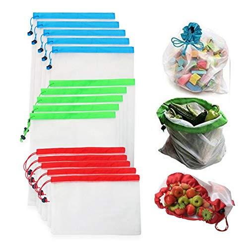 Bolsas de plástico reutilizables para productos de malla, lavables y ecológicas, para almacenamiento de compras, frutas, verduras, juguetes (tamaño: 12 unidades)
