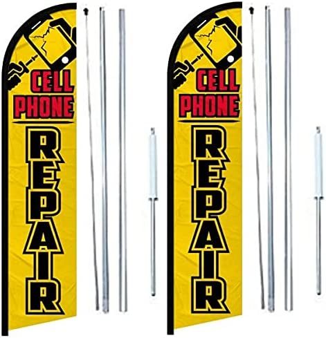 Cell Phone Repair windless banner Flag 2 H With Fort Worth Mall Free shipping Complete of pack
