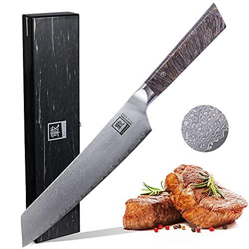 Zayiko Professional Series Damastmesser Chefmesser 20 cm Klinge extrem scharf aus 67 Lagen I Damast Küchenmesser & Profi Kochmesser aus echtem japanischen Damaststahl mit Ahornholzgriff