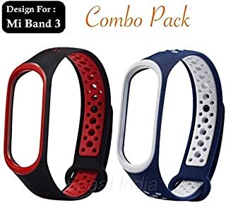 Epaal TPU Silicon Band Strap for Xiaomi Band 3/4, Mi Band 3 / Mi Band 4 (Combo: Red+Blue)