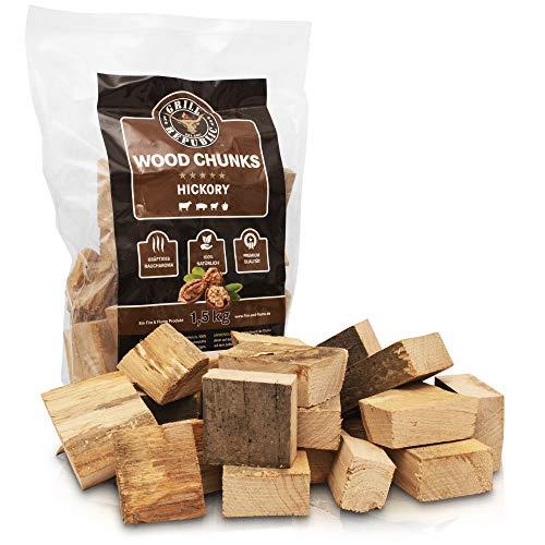 Grill Republic Smoker Chips Hickory für kräftiges Raucharoma/Wood Chips Sortenrein/Räucherchips mit Premium Qualität - 1,5kg