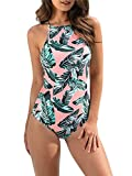 pink palm print one piece swimsuits
