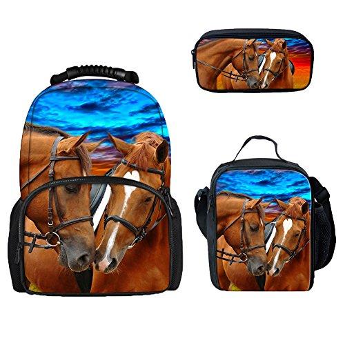 Coloranimal - Zainetto per bambini con motivo di animali zodiacali in 3D Cavallo-2 zaini + contenitore portavivande + astuccio per penne